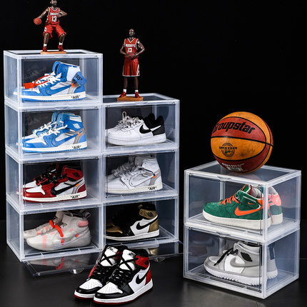 Spanning Air Jordan Shoe Box Clear Plastic Stackable Rack Yeezy shoe box Drop Front Display Large Storage Containers AJ Shoe Box